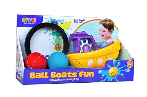 Lanlan Baby Bath Toys Bundle with Balls and Boat For Kids Happy Bath time Pirate Ship Bathtub Bath Toy