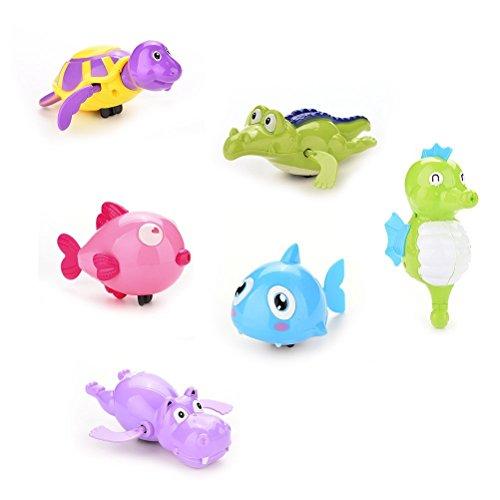 Wonderful-Buying Pack of 6 Baby Wind-Up Bathing Swimming Shower Toy Clockwork Turtule Shark Hippo Random Color