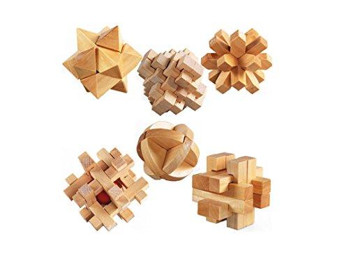 3D Wooden Cube Brain Teaser Puzzle-set of 6