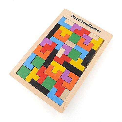 Awakingdemi 40-Piece Wooden Tangram Brain Teaser Puzzle Toys Tetris Game Educational Kid Toy