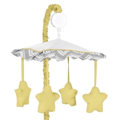 Yellow and Gray Chevron Zig Zag Musical Baby Crib Mobile by Sweet Jojo Designs by Sweet Jojo Designs