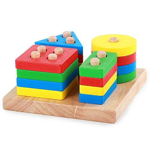 EVINIS Wooden Educational Preschool Shape Color Recognition Geometric Board Block Stack Sort Chunky Puzzle Toys Wooden Column Shapes Stacking Toys  Montessori Building Blocks