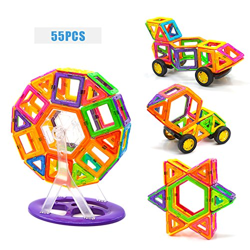 Magnetic Blocks Magnetic Tiles 55 Pcs Magnetic Tiles Building Blocks Magnetic Construction Set Educational Stacking Toys