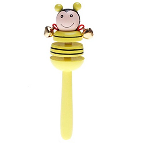 2 Pcs Cartoon Bee Infant Baby Educational Toys Wooden Rattles