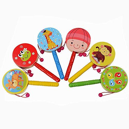 Children Musical ToyBuedvo Kids Baby Wooden Rattle Pellet Roll Cartoon Drum