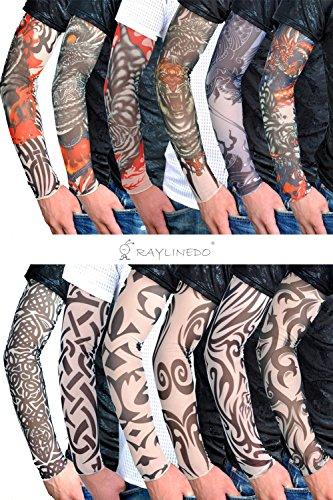 RayLineDo 12X Temporary Tattoo Fancy Funky Fashion Costume Novelty 92 Nylon and 8 Lycra Tattoo Arm Leg Stockings Sleeves