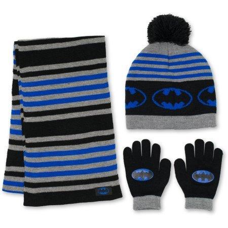 Batman Boys Hat Glove and Scarf 3pc Set