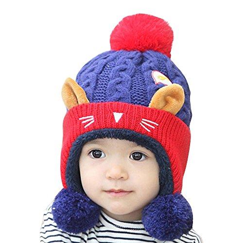 Franterd Kid Baby Girl Boy Knitting Wool Keep Warm Beanie Cap Hat with Dual Balls Blue