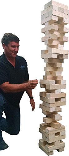 EasyGO Giant Stack Tumble Giant Wood Stacking Tumble Tower Blocks Game Includes Heavy Duty Duffle Carry Bag XX- Large  Stacks to Over 5 feet Tall