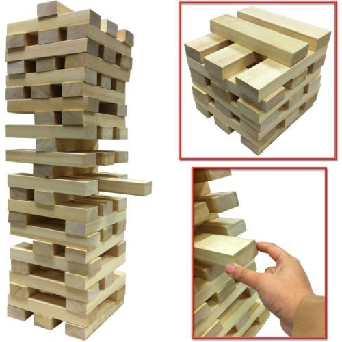 NEW GIANT WOODEN TOWER BLOCKS GAME OUTDOOR GARDEN PARTY FAMILY PUB BEACH 12M Tumbling  TUMBLE TOWER  Wooden Brick Block by SMART SHOPPING