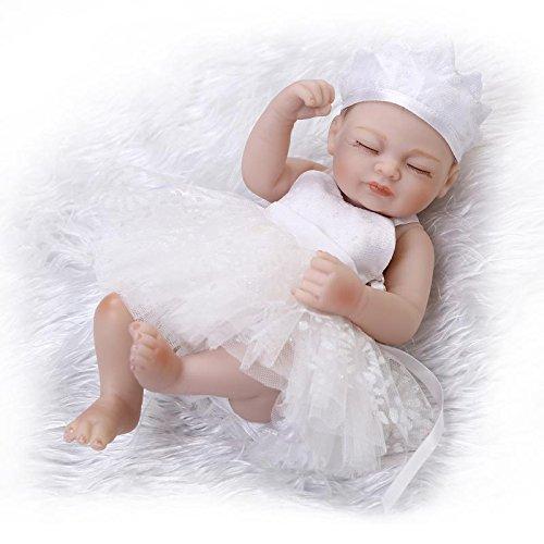 10 Handmade Full Body Silicone Soft Vinyl Real Looking Sleeping Reborn Baby Dolls Dressed in White Dress Lifelike Newborn Baby Girl Doll