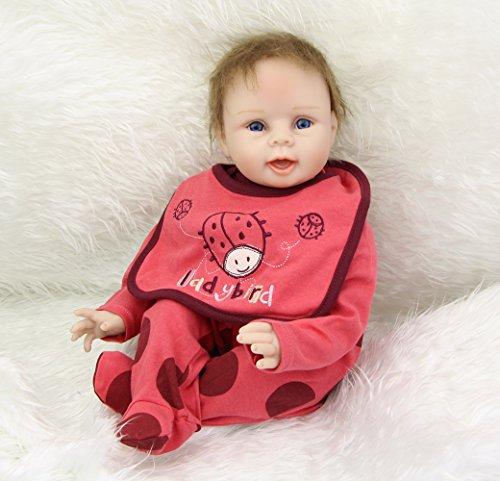 NPK New Style Lifelike Newborn Baby Dolls Girl Silicone Soft Reborn Kids Wearing Rose Red Ladybird Clothes Children Birthday Gift Free Magnet Pacifier Dummy