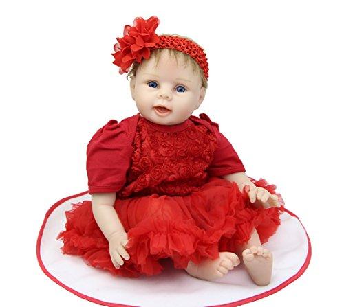 Newborn Baby girl doll 22 Inch Lifelike Reborn Kids Wearing Red Dress Kids Birthday Xmas Gift