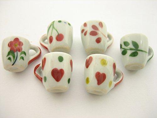 6 Assorted HandPaint Ceramic Tea Coffee Mug Cup Dollhouse Miniature Supply 13229