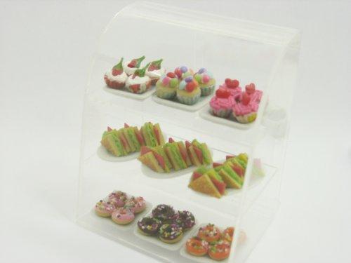 Clear Acrylic Table Top Bakery Display Shop Dollhouse Miniature Supply 9700