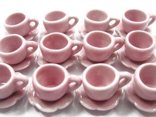 Dolls House Miniature Supply Ceramic 1224 Pink Coffee Tea Cups Set M - 4053
