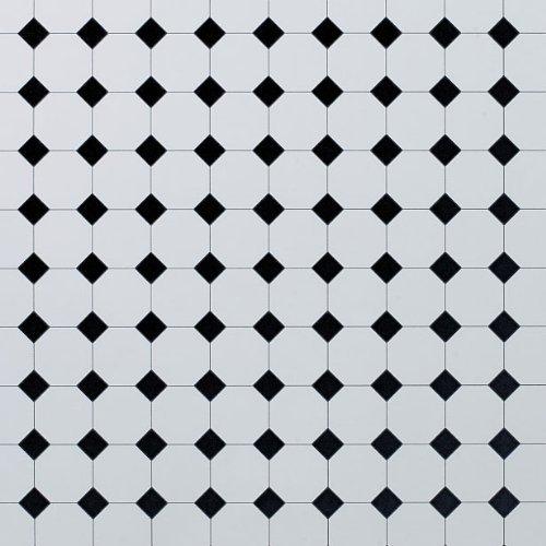 Dolls House Flooring Paper - Octagonal Tiles Plain Black by Dolls House Parade