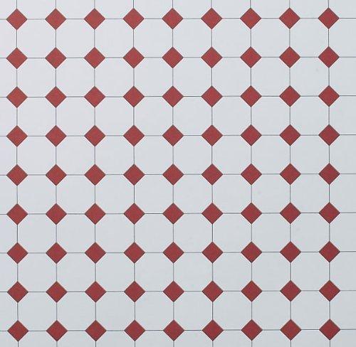 Dolls House Flooring Paper - Octagonal Tiles Plain Terracotta by Dolls House Parade
