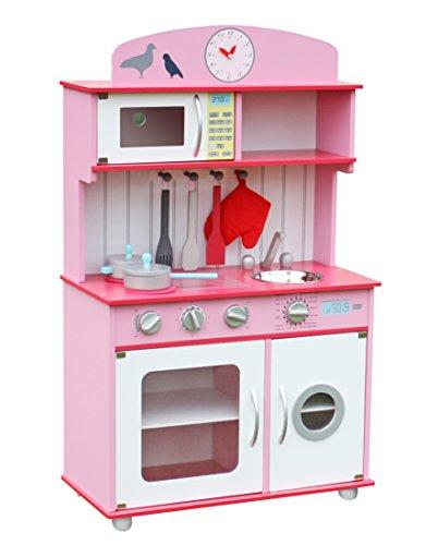 Deluxe Wooden Kitchen Toy Pretend Kids children role play set with Accessories by Oye Hoye - PinkFuschia
