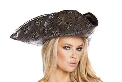 Roma Costume Womens Skull Embroidered Pirate Hat Gunmetal One Size