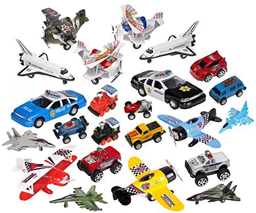 Variety Pack of 16 Random High Quality Pull Back Toy Vehicles Planes Space Shuttles Racing Cars Trucks Motorcycles Military Trucks