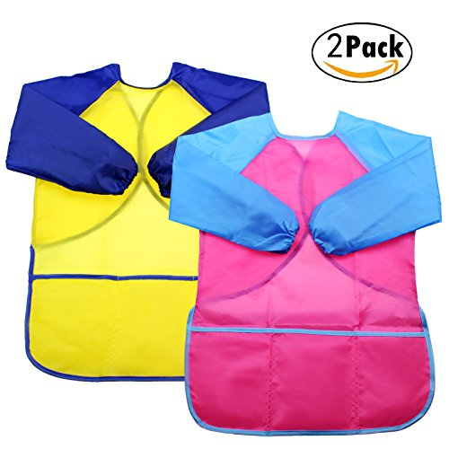 DYWISHKEY Pack of 2 Waterproof Art Smock Kids Art Aprons Childrens Art Smock Long Sleeve with 3 Roomy Pockets Painting Supplies Paints and Brushes not included
