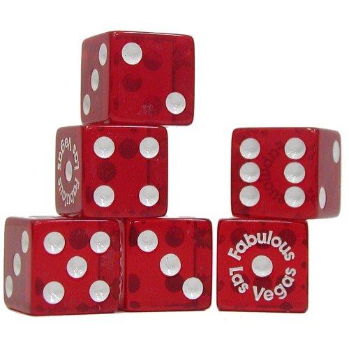 Trademark Poker Fabulous Las Vegas Dice - 5 Piece Dice Package Red