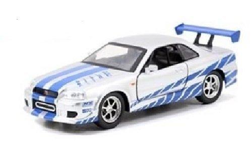 New 132 WB Fast Furious 7 - SILVER BRIANS NISSAN SKYLINE GT-R R34 Diecast Model Car By Jada Toys