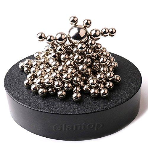 GlantopMagnetic Sculpture Desk Toy for Intelligence Development and Stress Relief Set of 160 Balls 1 Magnet Base