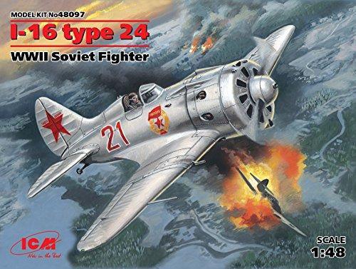 PLASTIC MODEL AIRPLANE I-16 TYPE 24 WWII SOVIET FIGHTER 148 ICM 48097