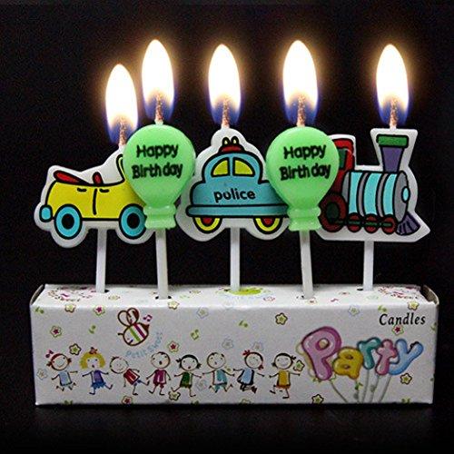 Birthday Candles Kids Child Boys Girls Cute Cartoon Animals Novel Candles-train car