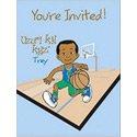 African American Boy Invitations Basketball Trey