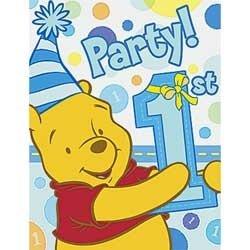 Poohs 1st Birthday Boy Invitations 8ct