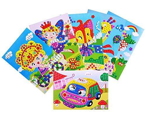 Oveelando6in1 Mosaics Sticky Cartaxirabbitfairiesfoxsweet Girlcardsheetpictures for Kids Peelstickdisplay by OL Toys