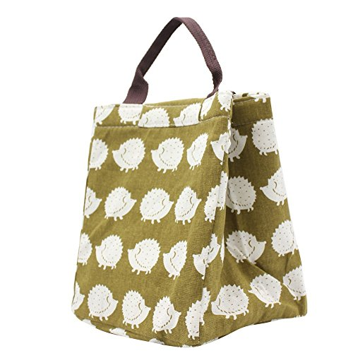 Mziart Reusable Cotton Lunch Bag Insulated Lunch Tote Soft Bento Cooler Bag Brown Hedgehog