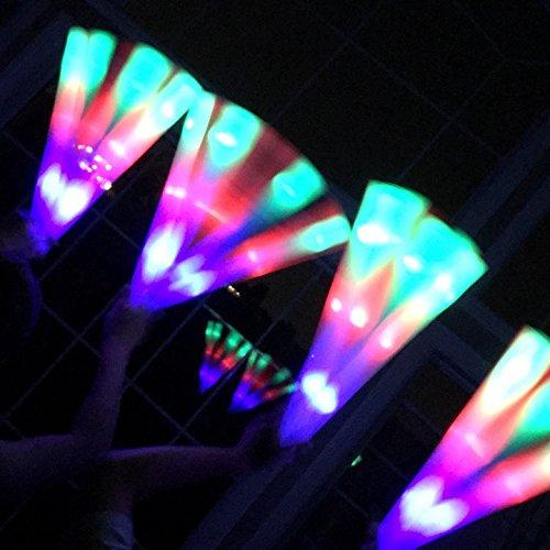 Adorox 18 Pcs 18 Multi-color Changing 3 Modes Flashing Light up Foam Glow Sticks LED Rave Baton Party Favor Wand