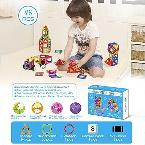 AMOSTING Magnetic Tiles Building Block Magnet Stacking Toy Set - 46pcs