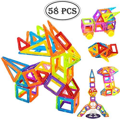 TUMAMA 58 PCS Mini Magnetic Blocks Clear Building Tiles Construction Stacking Toys Set Educational Building BlocksStandard Set