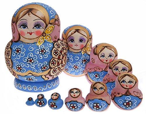 Moonmo 10pcs Beautiful Handmade Wooden Russia Nesting Dolls Gift Russian Nesting Wishing Dolls Pink And Blue Pattern Matryoshka Traditional