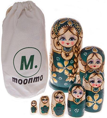 Moonmo 7pcs Beautiful Handmade Wooden Russia Nesting Dolls Gift Russian Nesting Wishing Dolls Green Graphic Matryoshka Traditional