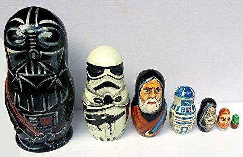 Star Wars Darth Vader Stormtrooper Matryoshka Babushka Handmade Doll Wooden Nesting Dolls Known TV Movies Characters Set 7pc