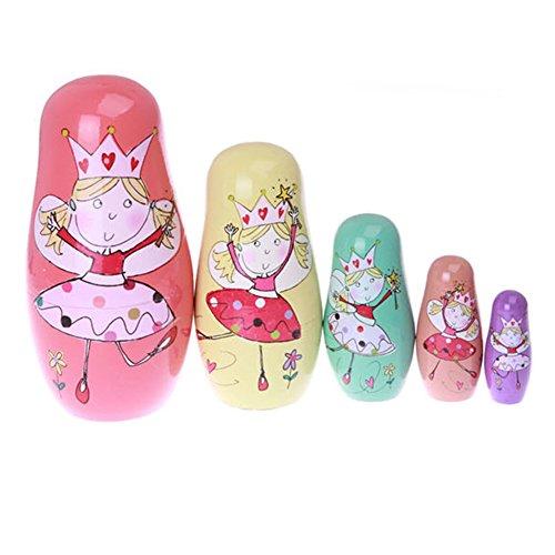 xlpace 5pcsSet Russian Matryoshka Doll Nesting Dolls Wooden Dancing Princess Girls Toys Home Decor Handmade Crafts Birthday Christmas Gifts 669