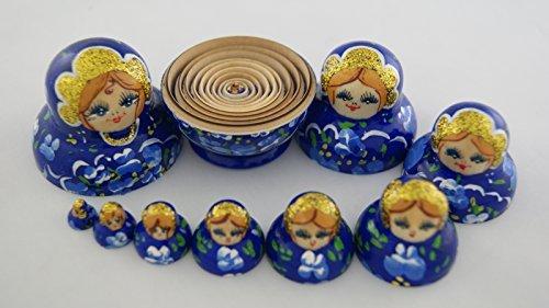Vaskin Gifts Russian Nesting Dolls Wooden Handpainted Small 10 pcs Ultramarine with Blue
