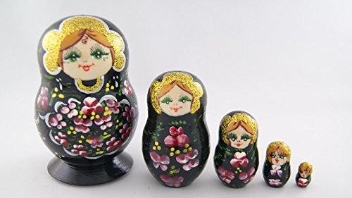 Vaskin Gifts Russian Nesting Dolls Wooden Handpainted Souvenir 5 pcs Lamp Black with Burgundy