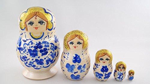 Vaskin Gifts Russian Nesting Dolls Wooden Handpainted Souvenir 5 pcs Pearl White with Ultramarine