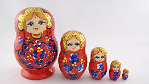 Vaskin Gifts Russian Nesting Dolls Wooden Handpainted Souvenir 5 pcs Red with Ultramarine