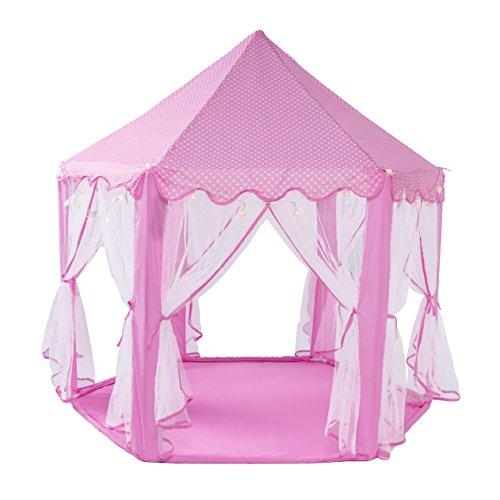SpringBuds Kids Indoor Princess Castle Play TentsOutdoor Girls Large Playhouse With LED Star Lights55Diameterx 53Height