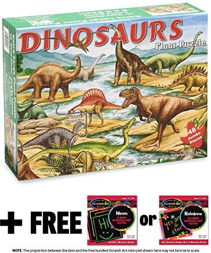 Dinosaurs 48-Piece Floor Puzzle  FREE Melissa Doug Scratch Art Mini-Pad Bundle 04216