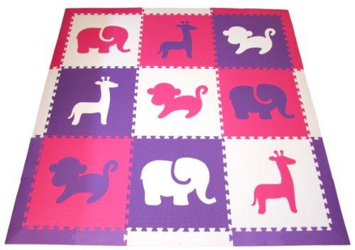 SoftTiles Safari Animals Kids Interlocking Foam Play Mat wsloped borders Purple Pink White Jumbo Play Mat 78 SCSAFPPW