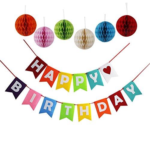 Happy Birthday Decorations Banner With Set Of 6 Tissue Pom Pom Decorations Ball